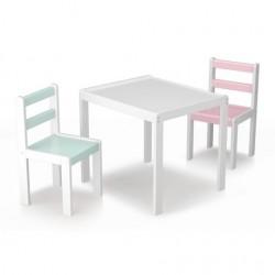 ENSEMBLE PETITE TABLE ET 2 CHAISE BOIS BLANC 92200480