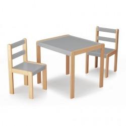 ENSEMBLE PETITE TABLE ET 2 CHAISES BOIS GRIS 92200470