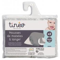 LOT 2 HOUSSE MATELAS A LANGER GRIS CLAIR 154483